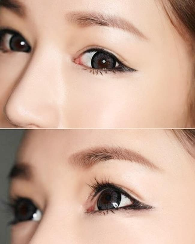 Đường mí mắt sẽ ở sát đường viền mắt và kéo dài ở phía đuôi mắt mang lại cảm giác đôi mắt thêm sắc sảo