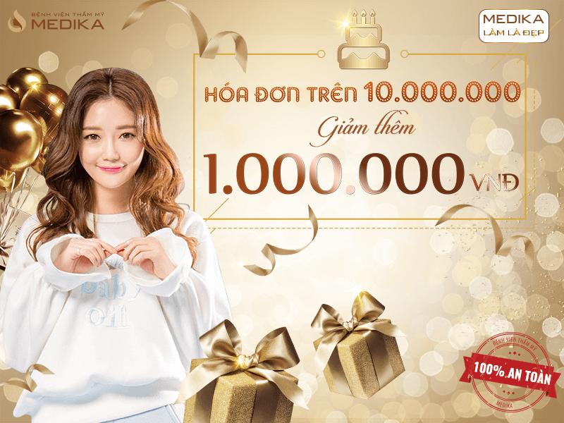 Chúc mừng sinh nhật MEDIKA - Làm đẹp liền tay nhận ngay ưu đãi 20/10 Hóa đơn trên 10.000.000 đồng giảm 1.000.000 đồng