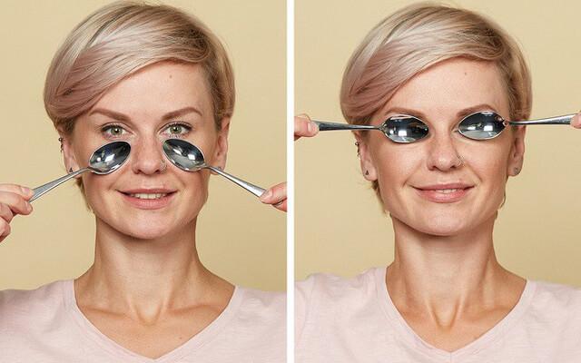 dùng thìa để mát sa mắt