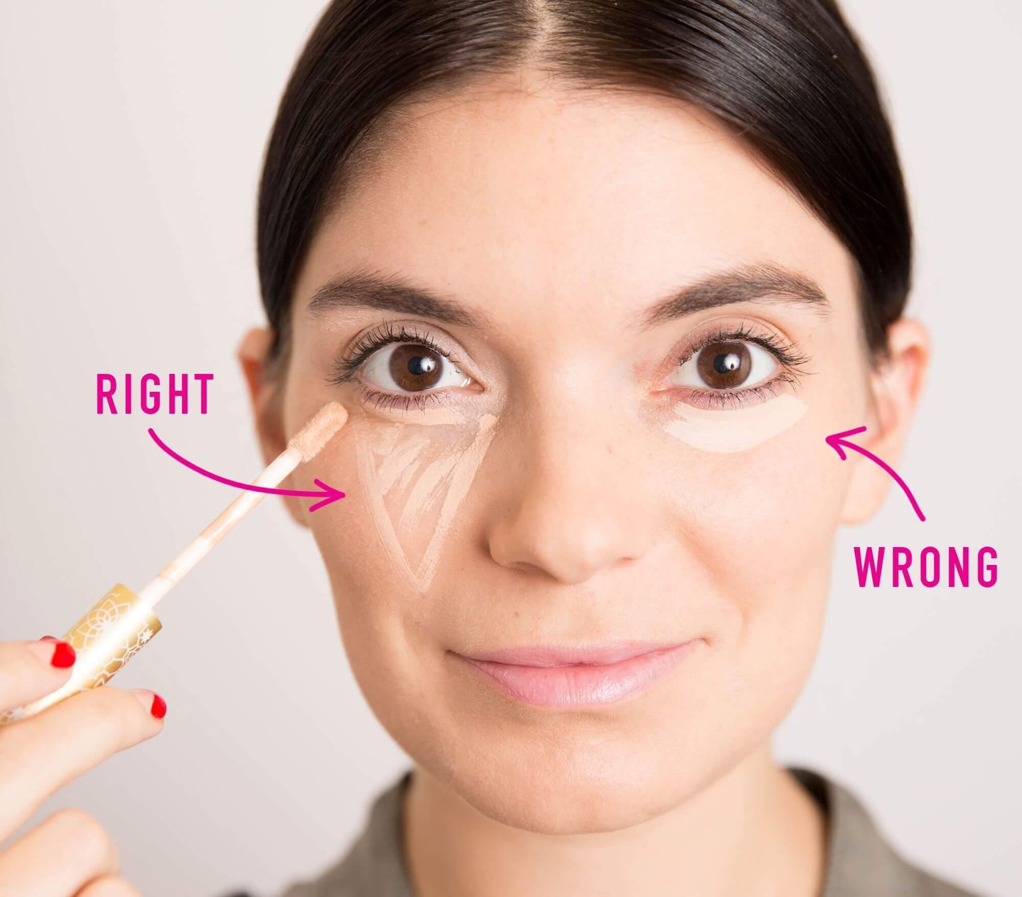 Sử dụng kem che khuyết điểm mắt